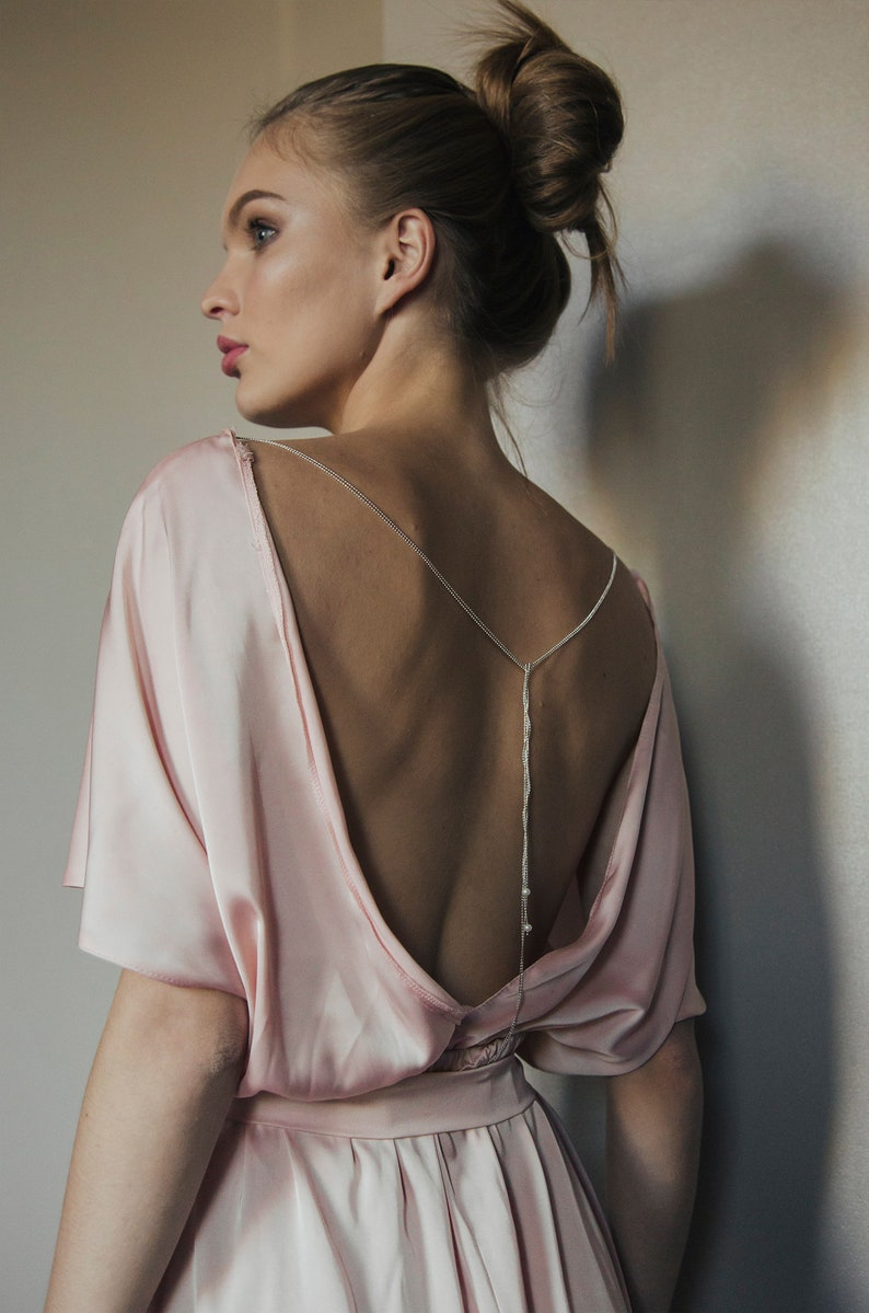 29475a0846 Silk jumpsuit for bridal morning   Pink overall with open back