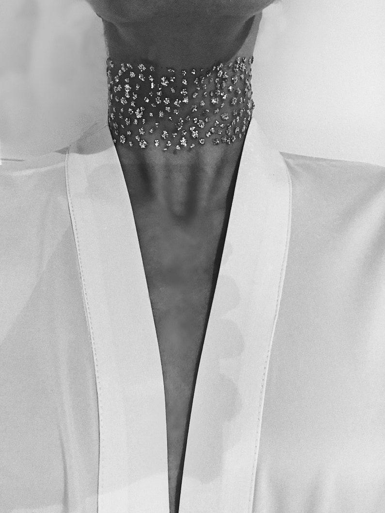 Crystal evening choker  Wide glitter choker   Glitter gold choker  Silver lace chokers