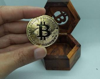 bitcoin corner in a precious wooden box