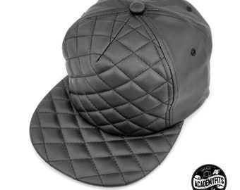 178c7717 AcademyFits 5 Panel High Crown Profile PU Leather Quilted Pattern Foam  Strapback Flat Visor Hat Men Women Unisex Adjustable Fit Luxury Cap