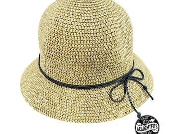 2baa6604 AcademyFits Quality Round Brim Visor Sun Straw Bucket Hat Summer Beach  Outdoor Protection Bow Men Women Casual Cap