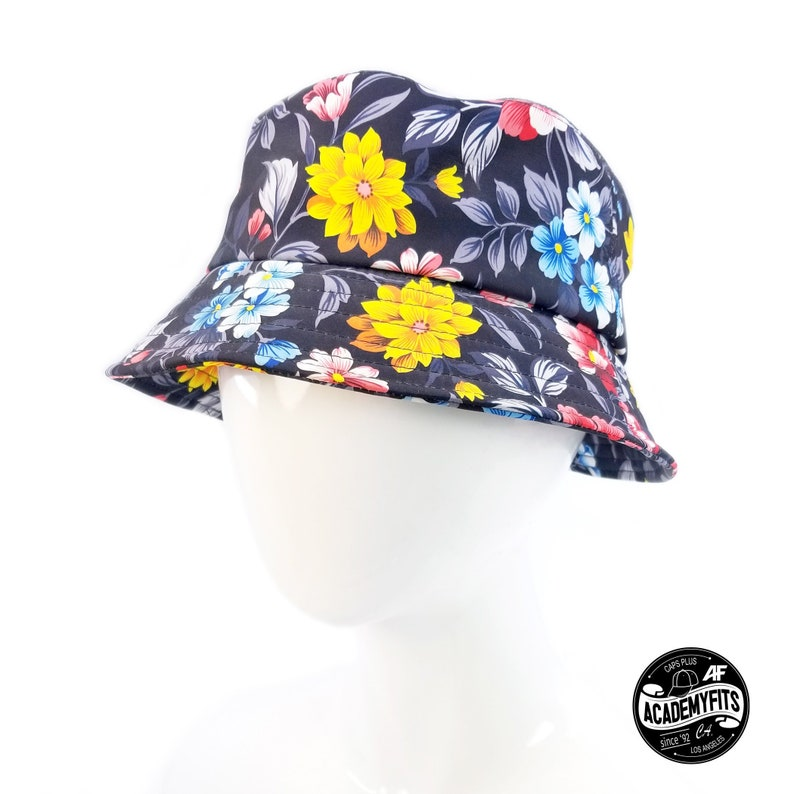 2aa48fa33e3 AcademyFits Quality Black Floral Cotton Boonie Bucket Hat Fit