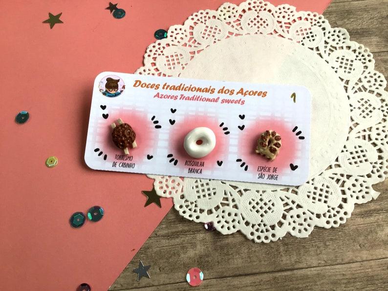 Fimo handmade with polymer clay Torresmo de cabinho Pin azorean sweet Esp\u00e9cies de S\u00e3o Jorge e Rosquilha branca