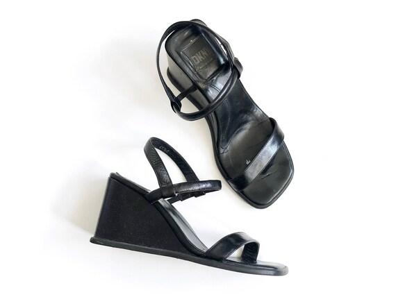Vitg 90s 00s Y2K DKNY Square Toe Black Wedge Heel
