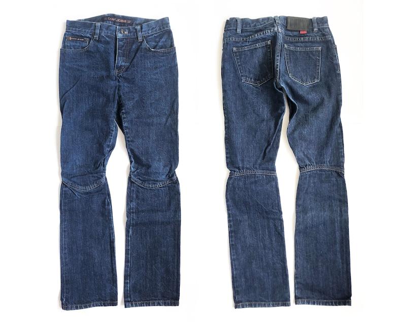 Vtg Y2K 00s 90s DKNY Low Rise Button Fly Biker Articulated Knee Dark Blue Jeans Hip Hop RnB Club Tommy Hilfiger Britney Paris Hilton
