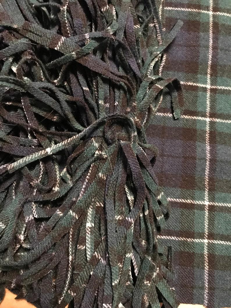 100 #6 cutter Pendleton plaid green navy 12\u201d wool rug hooking strips