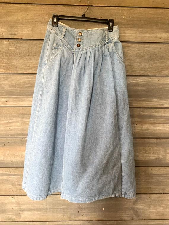 Vintage Jean Denim Skirt | Pants with Skirt Overl… - image 8