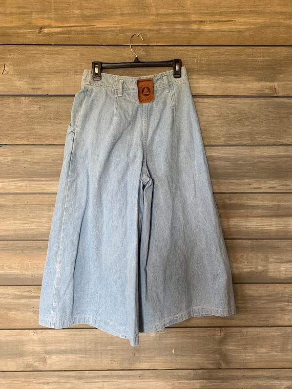 Vintage Jean Denim Skirt | Pants with Skirt Overl… - image 4