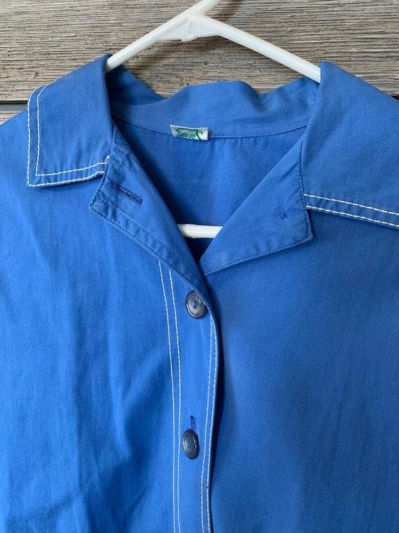 Vintage Retro Shirt | 60's Sacony Blue Shirt | RE… - image 4