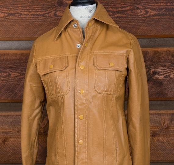 Mens Vintage jacket, brown vinyl jacket, 1970's vi