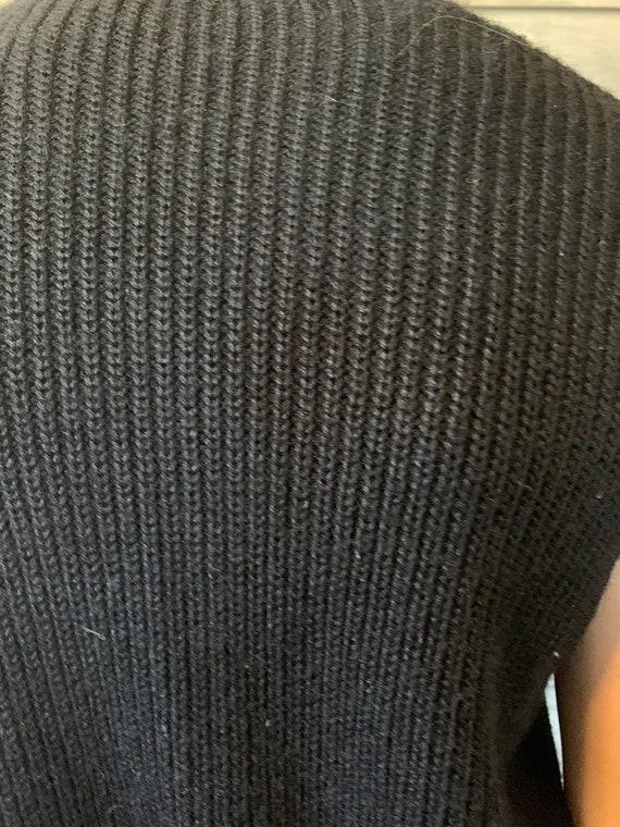 Vintage Sweater Vest   1960's Black Lampl Vintage… - image 6