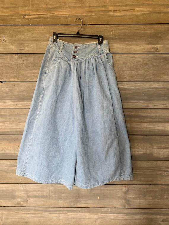 Vintage Jean Denim Skirt | Pants with Skirt Overl… - image 1