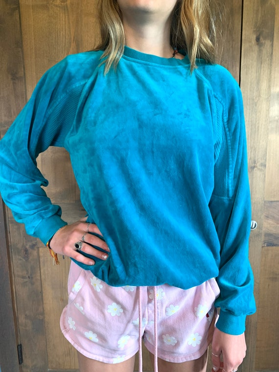Vintage  Velour Sweater | Turquoise Pullover Sweat