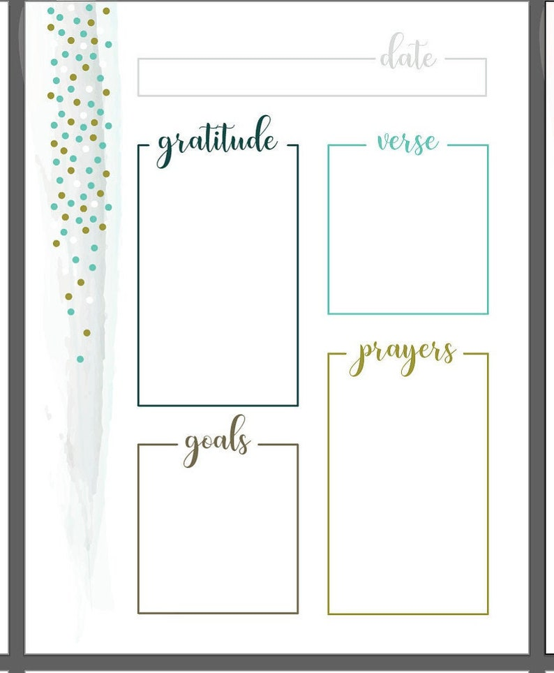 photograph relating to Free Printable Prayer Journal Pdf known as Watercolor Dots Printable Every day Prayer Magazine, day-to-day Graude log, Bible Verse Reflection, Scripture of the working day, Inside A few Shades, PDF