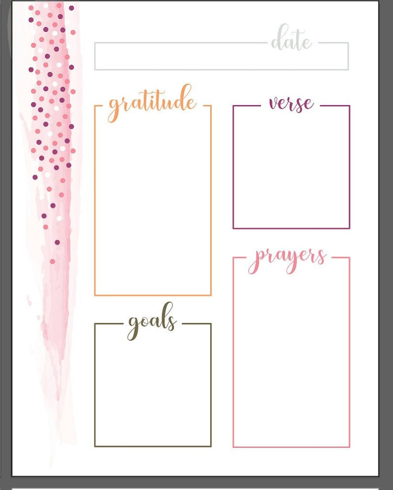 photo about Free Printable Prayer Journal Pdf named Watercolor Dots Printable Each day Prayer Magazine, each day Graude log, Bible Verse Reflection, Scripture of the working day, Within just 3 Colours, PDF: