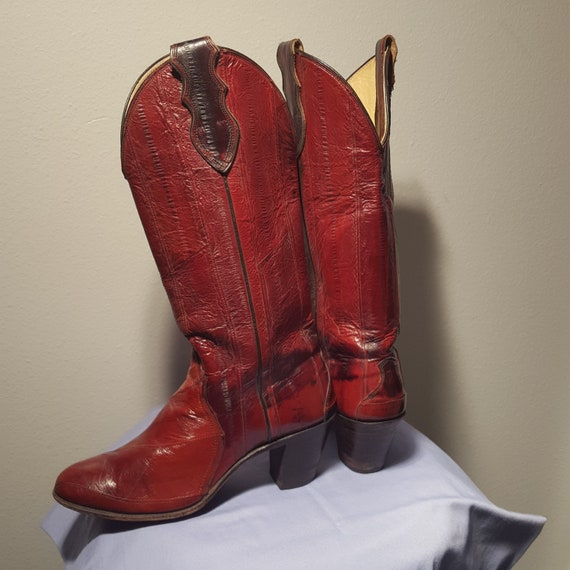 Red Eel skin Justin Womens Boots - image 2