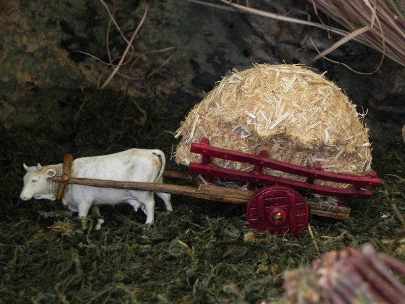 Nativity Scene Ox Figurine with Hay Cart Carretto Landi Presepio Pesebre Buey