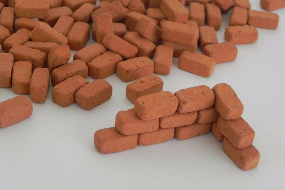 Dollhouse Miniature Bricks Real Red Brick Material 60 Pieces Pellegrini