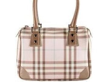 3110113d8731 AUTHENTIC BURBERRY Pink Nova Check Bowling Mini Handbag Speedy