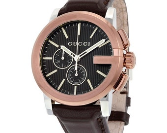 ef5da08c133 NEW GUCCI G-CHRONO Rose Gold Brown Leather Men s Watch
