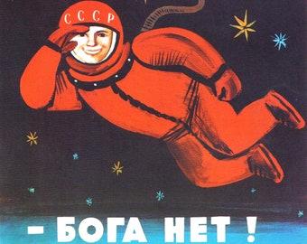 There's no god! / Бога Нет! 1960's USSR Anti Religious Propaganda - Cosmonaut Yuri Gagarin In Space Print Poster