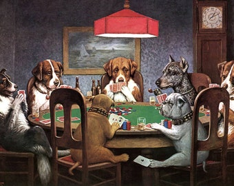 Cassius Coolidge Dog/'s Playing Poker Glossy Poster 11in x 17in 24in x 36in