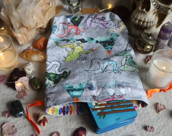 Large Here There Be Dragons Tarot Bag Oracle Bag Rune Bag Fully Lined Handmade