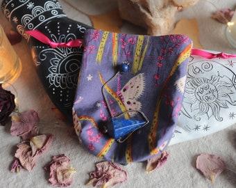Extra Small Purple Moths Pendulum Bag Drawstring Sachet Crystal Pouch Dice Bag Handmade Fully Lined