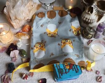 Large Burrowing Owls Tarot Bag Oracle Bag Rune Bag Fully Lined Handmade