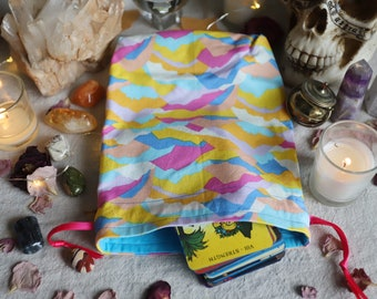 Large Colorful Mountains Tarot Bag Oracle Bag Rune Bag Fully Lined Handmade