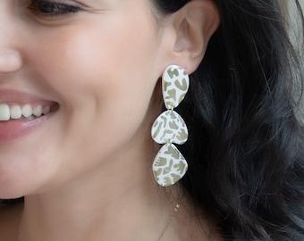Dangle Resin Earrings, Squiggle Pattern, Fun Earrings, Statement Long Earrings
