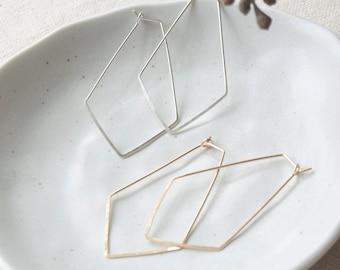 14k Gold Fill Geometric Hoop Earrings, Sterling Silver Dainty Earrings, Thin Hoop Earrings, Minimalist Earrings