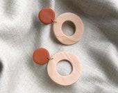 Maddie Bicolor Earrings | Polymer Clay Earring, Hoop Earrings, Statement Earrings, Minimalist Earrings, Modern Jewelry, Brass Earrings