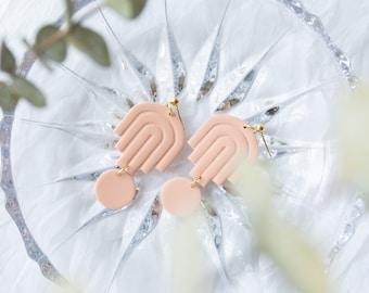 Eliel in Sandstone / Art Deco Jewelry, Statement Earrings, Clay Earrings, Blush Nude