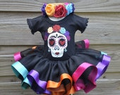 Coco Frida Kahlo inspired Sugar Skull Day of The Dead Birthday Halloween Tutu Costume Set
