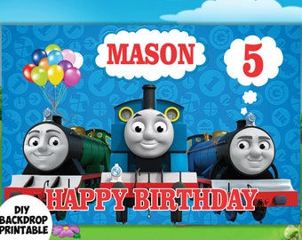 Thomas Train Backdrop DIY Birthday Decor Personalize 24 Hours Turnaround Time