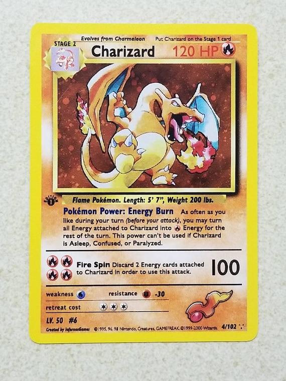 Carte Pokemon 1ère édition Rare Dracaufeu Vintage Wotc Style Orica Personnalisé