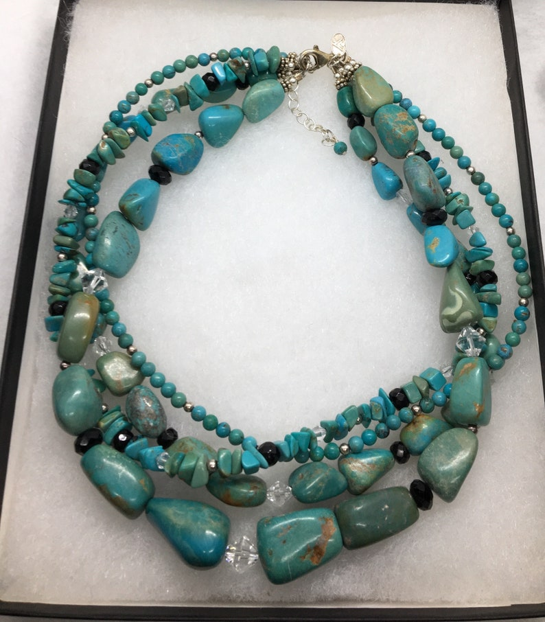 Silpada Turquoise multi strand sterling necklace vintage jewelry