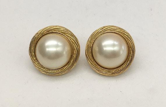 Vintage Trifari Faux Pearl Earrings - image 1
