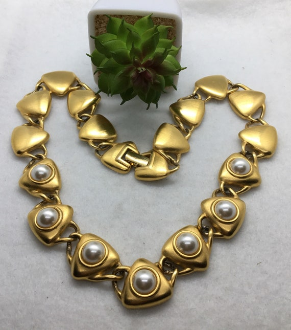 Vintage Jewelry Chunky Gold Necklace Designer Sign