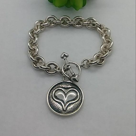 Vintage sterling silver heart tag chunky bracelet