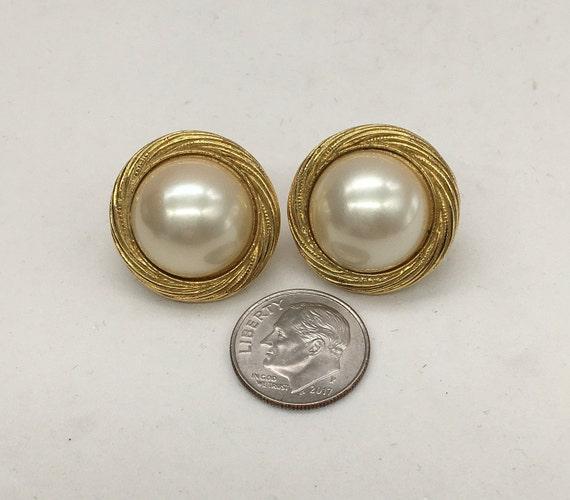 Vintage Trifari Faux Pearl Earrings - image 2