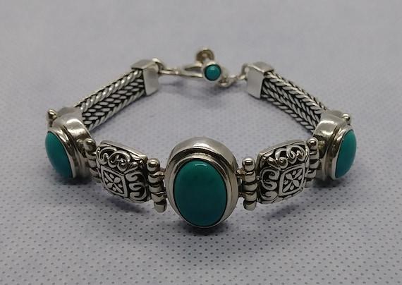 Sterling Silver Turquoise Chunky Link  Bracelet Vi
