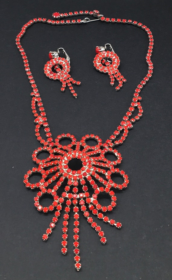 Vintage Jewelry Rhinestone Necklace & Earring Set