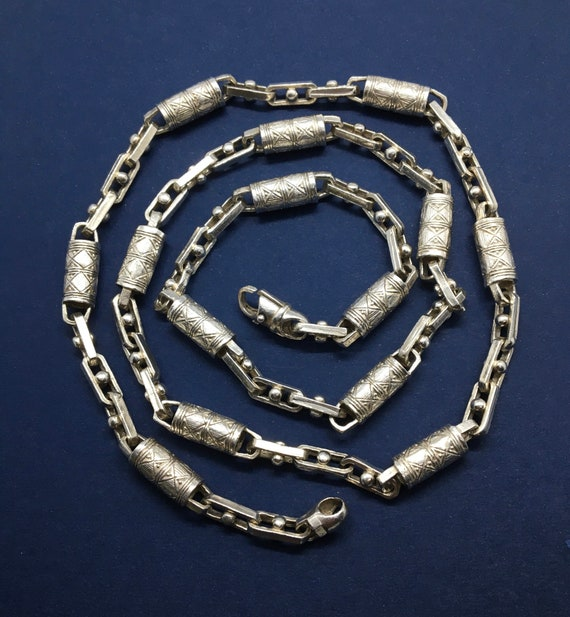 Vintage Jewelry Sterling silver tube links chunky