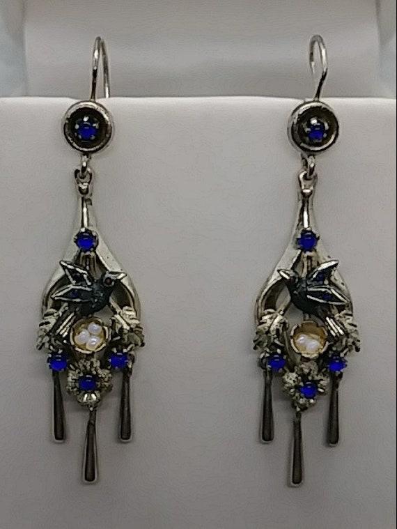 Antique Victorian Jewelry Birds Nest Blue Sapphire