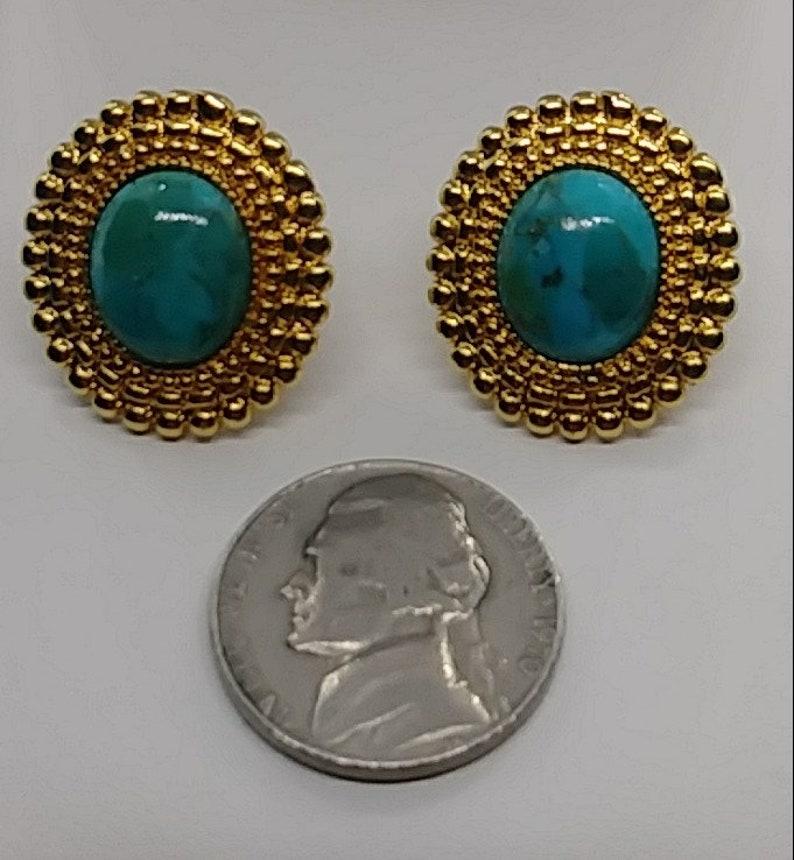 Vintage turquoise goldtone stud earrings Italy Design
