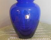 Blenko Glass Cobalt Blue Flower Vase, Vintage Hand Blown American Made Glass, Urn Style Vase