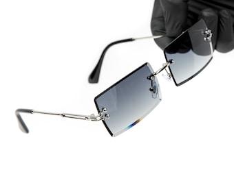 URATOT 4 Pack Rimless Rectangle Sunglasses Vintage Rimless Eyewear Transparent Retro Sunglasses Metal Frame Eyewear Trendy for Men Women