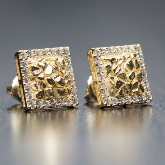 Mens Hip Hop Square Canary Yellow CZ Screw Back Stud Earrings